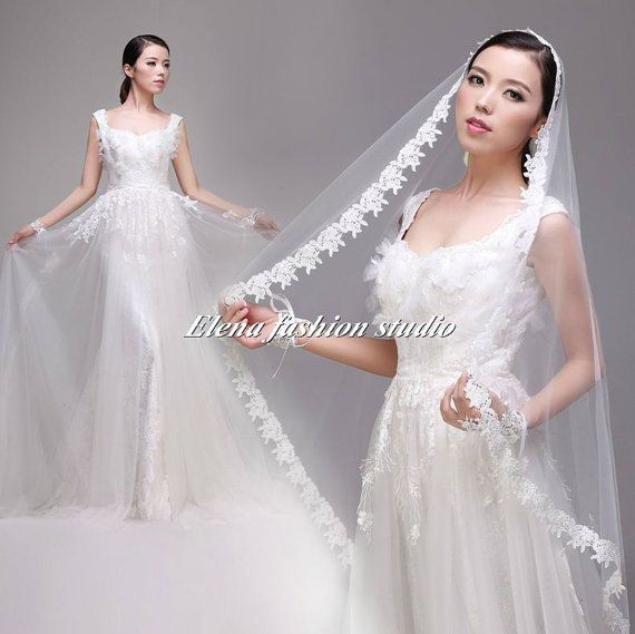 Custom Make Wedding Dress V Back Lace With Sweep Train Bridal Gown