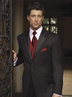 Burgundy Wedding - Black Suit Red Vest For Groomsmen #2066766 - Weddbook