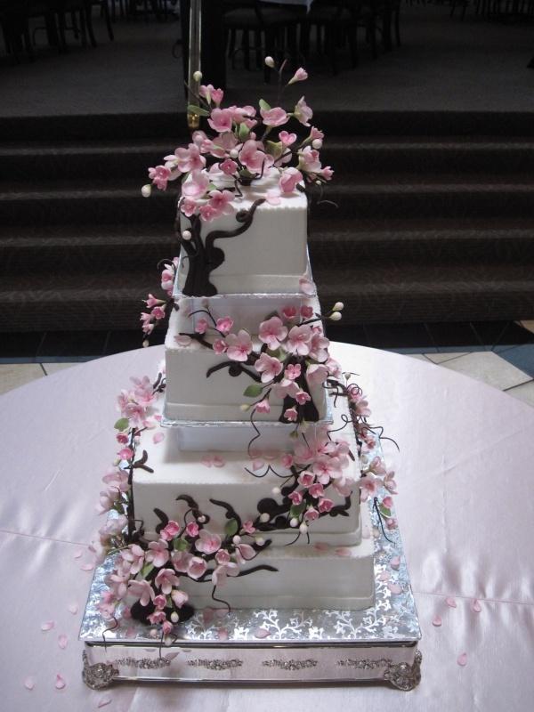 Fleurs De Cerisier De Mariage Gâteau De Mariage De
