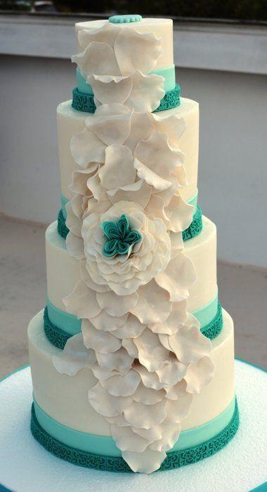 Wedding - Teal And White Wedding Cake