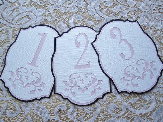 Mariage - Nombres de Tableau de mariage - rose et noir et blanc - Numéros de damassé découpe Tableau - Choisissez vos couleurs