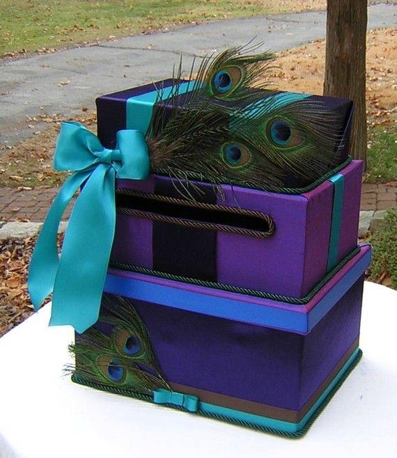 Hochzeit - Drei Tiered Hochzeitskarte Geld-BOX Lapis PEACOCKS Dupionseide