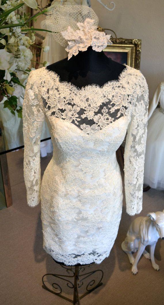 Wedding - Couture Short Wedding Dress, Long Sleeve - Ivory, Off-White - Size 2, Size 4, Size 6, Size 8, Size 10, Size 12, Size 14