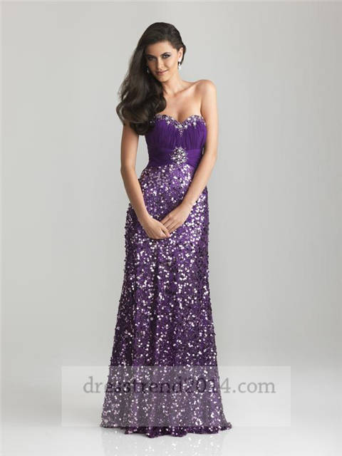 Wedding - Long Purple Sequined Strapless Prom Dress