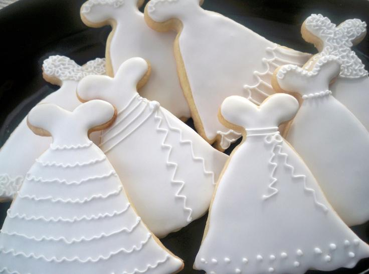 Wedding Dress Cookies Bridal Shower Cookies Wedding Cookie Favors