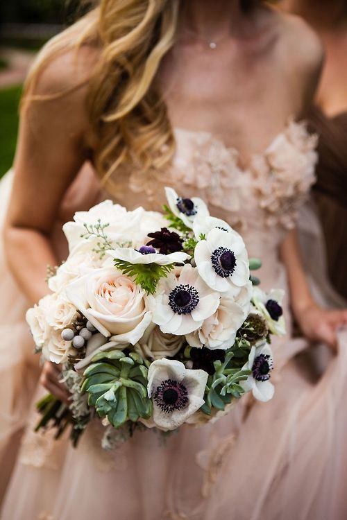 Blush Wedding - White Anemone, Blush Rose Bouquet #2067794 ...