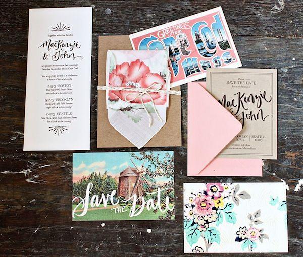 Mackenzie john39s hand lettered cape cod wedding for Hand lettered invitations