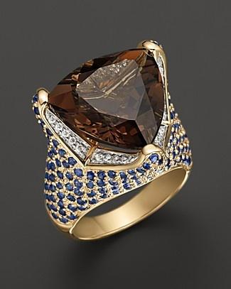 Wedding - Smokey Quartz Ring With Diamonds And Blue Sapphires In 14K Yellow Gold