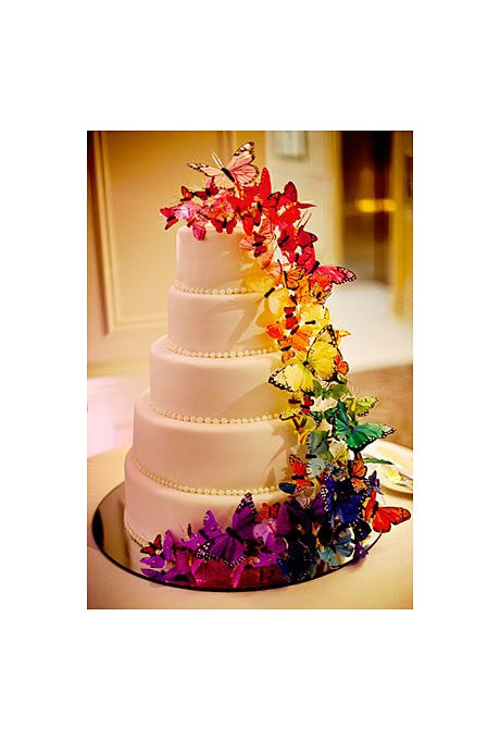Wedding Cakes With Flower Cascade And Butterflies