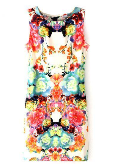 Wedding - Multi Sleeveless Floral Bodycon Dress - Sheinside.com