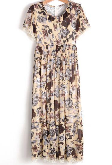 Mariage - Jaune à manches courtes robe florale de mousseline de soie plissée - Sheinside.com