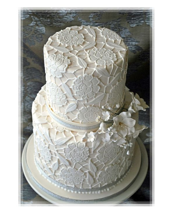 Wedding Cake Design Patterns : Modern Wedding - White Lace Pattern Wedding Cake Picture ...