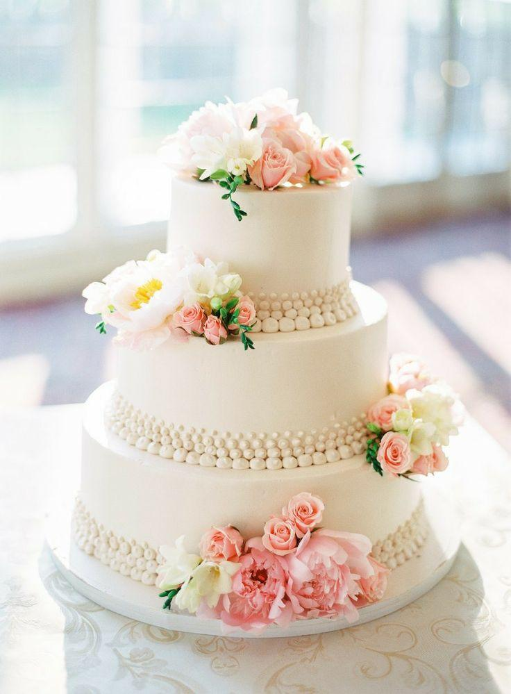 Wedding Cake With Pink And White Flowers 2068306 Weddbook