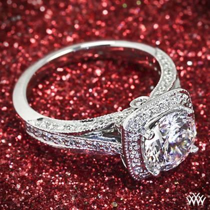 Wedding - 18k White Gold Ritani Masterwork Cushion Halo Vaulted Milgrain Diamond Engagement Ring