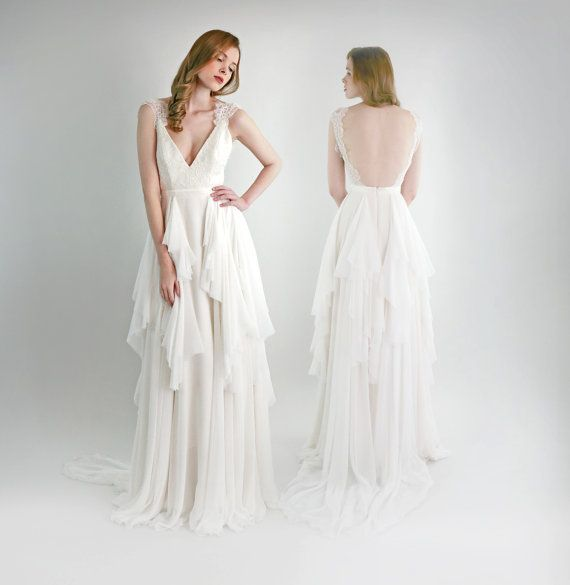 Emmy Lou -- Lace And Silk Chiffon Wedding Gown #2068513 - Weddbook
