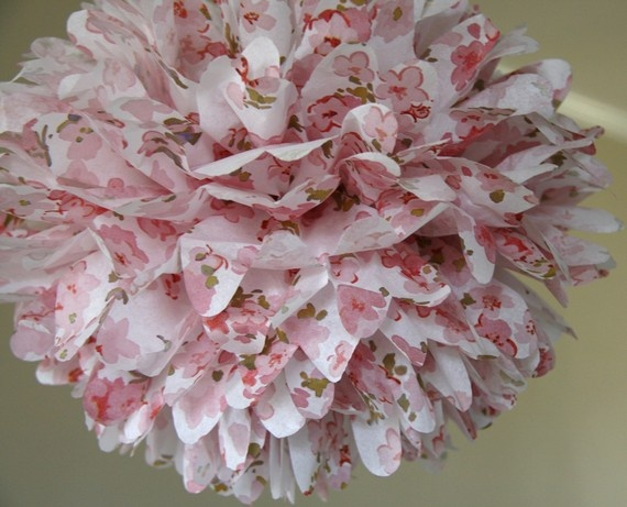 Cherry Blossom Tissue Paper Pom For Nursery Decor Baby Shower
