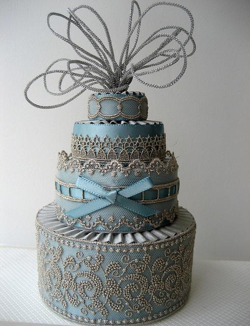 Свадьба - Текстурированные Синий Торт