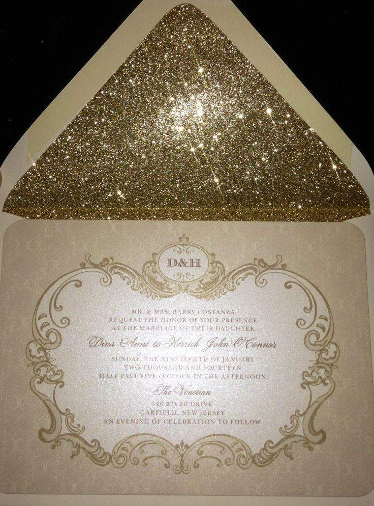 White And Gold White And Gold Invitation Paper