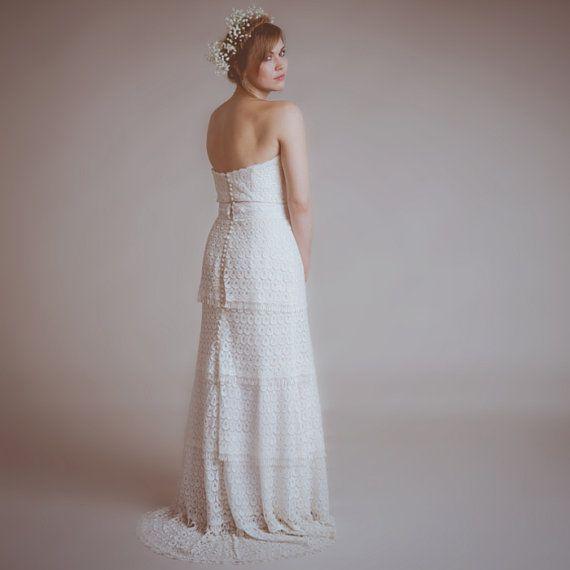 Eco fair trade marie wedding dress vintage inspired for Vintage inspired lace wedding dresses