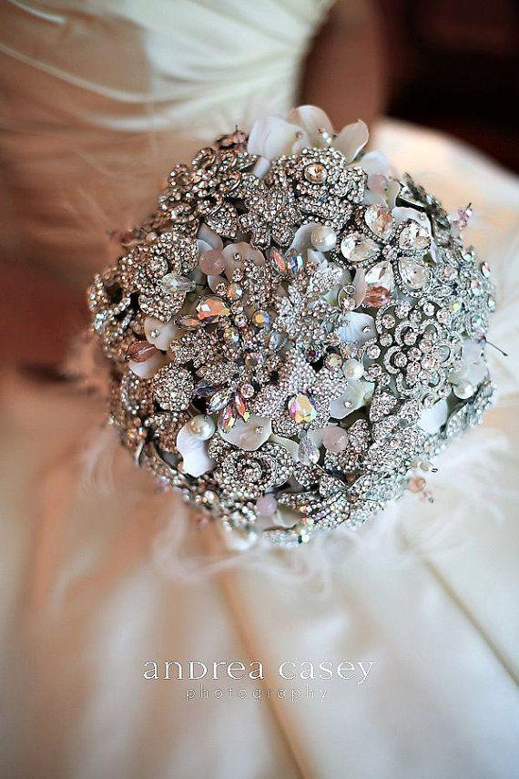 Düğün - Banka, Zengin Taklidi Allık Pembe Ve Broş Gelin Düğün Buketi--made To Order Buket Broş