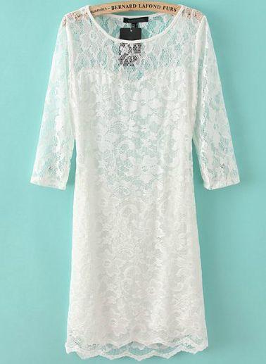 Mariage - Blanc à manches longues Dos nu Robe moulante en dentelle - Sheinside.com