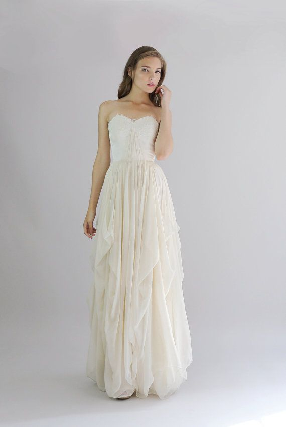 Alice- Silk Chiffon Wedding Gown--Etsy Exclusive #2068929 - Weddbook