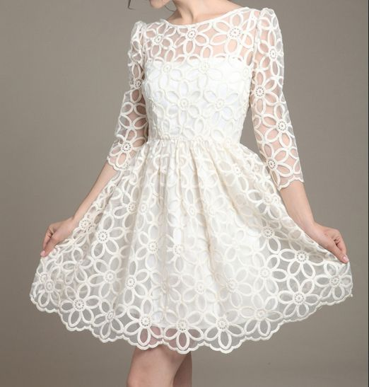 Wedding - White Three Quarter Sleeve Organza Embroidery Dress - Sheinside.com