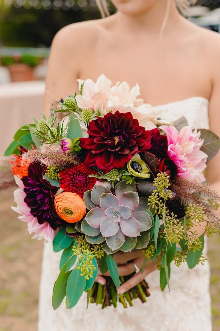 Wedding Bouquet Dahlias And Succulents 2069045 Weddbook