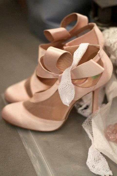 High Quality Blush Bow Shoes