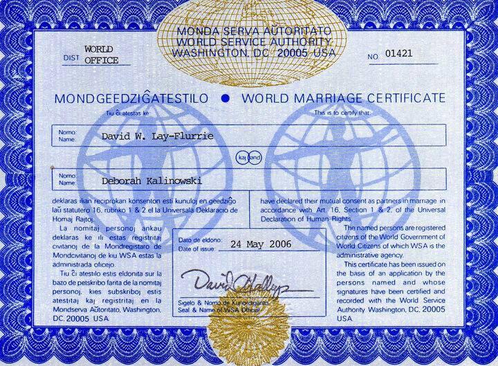 Wedding - World Marriage Certificate