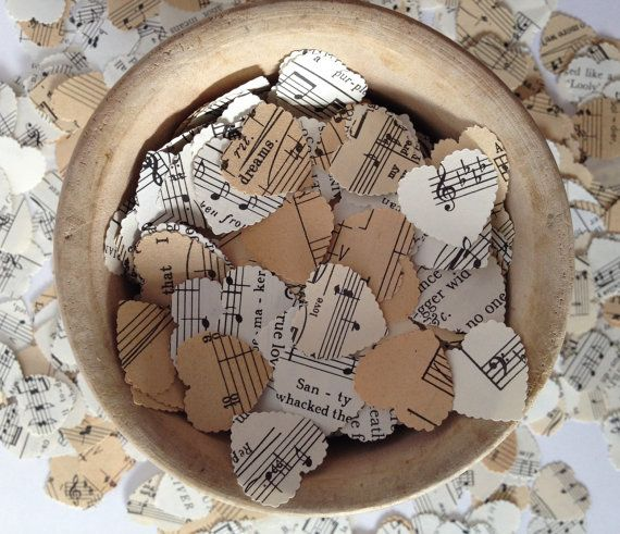 800 vintage music sheet heart wedding confetti vintage - Decoration de table vintage ...