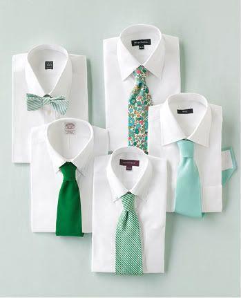 Mariage - {Cravates} Aqua, Teal, Vert, Vert clair et blanc