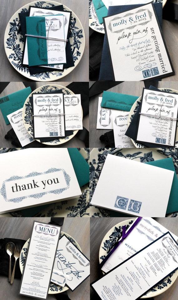 Navy And Teal Wedding Invitation Blue Silver Vintage Shimmer Sample