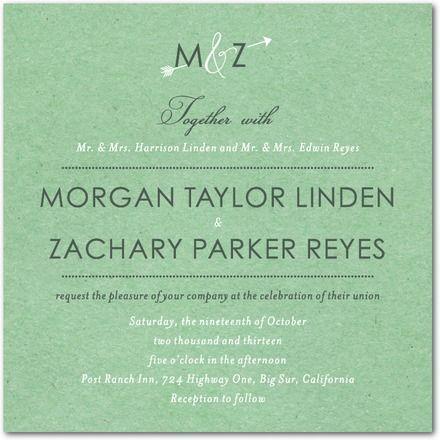 Mariage - Kraft Arrow - Signature invitations de mariage blanc dans Marigold Ou Fraise