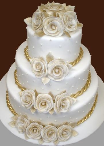 Свадьба - Белый И Золотой Свадебный Торт.