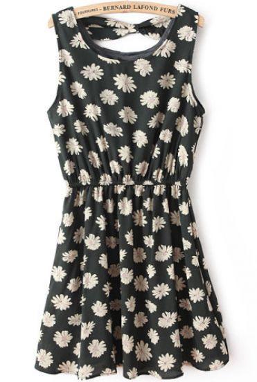 Düğün - Koyu Yeşil Kolsuz Çiçek Backless Pileli Elbise - Sheinside.com