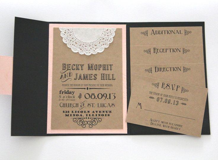 Rustikale Hochzeits Einladung   Taschen Falten Einladung Set Mit 4 Einsätze    Tafel Design   Mustersatz