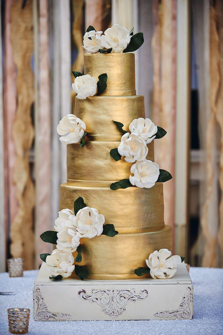 Gold Wedding White Gold Wedding Cakes 2069810 Weddbook