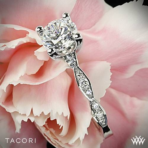 Wedding - 18k White Gold Tacori Sculpted Crescent Almond Crescent Diamond Engagement Ring