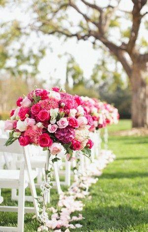 Pink Wedding Bright Pink Wedding Ceremony Flowers 2069915 Weddbook