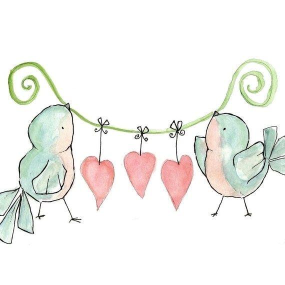 زفاف - Tweethearts 8X10 طفولة فن طباعة