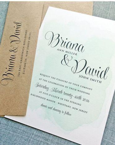 Mariage - NOUVEAU Briana Aquarelle verte Invitation de mariage d'échantillon