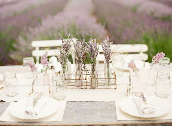 Outdoor Wedding - Lavender Outdoor Reception Table #2070167 - Weddbook