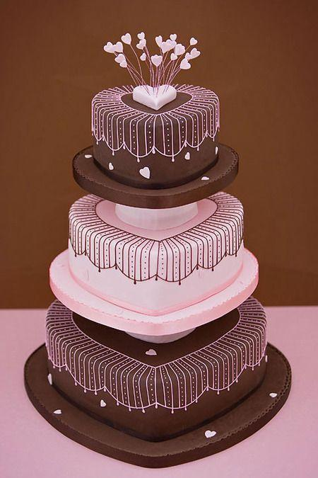 Wedding - Pink & Brown Heart Cake