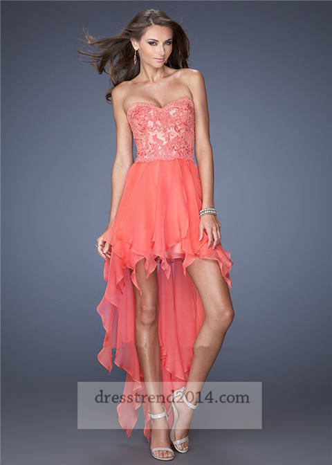 Coral Floral Lace High Low Prom Dresses 2014 #2070232 - Weddbook
