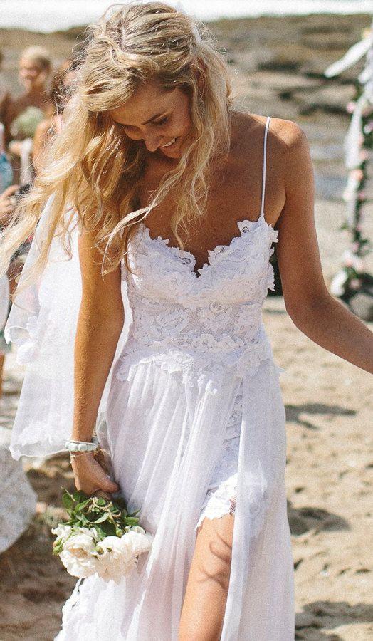 Stunning Low Back White Lace Abito Da Sposa, Dreamy ...