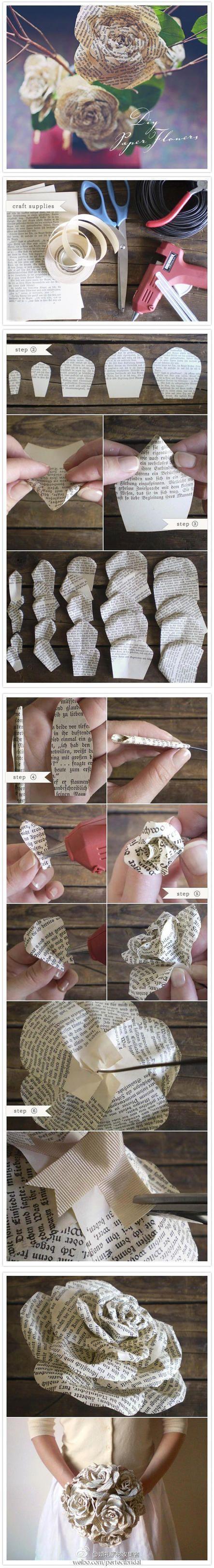 Wedding - Book Art - Paper Roses