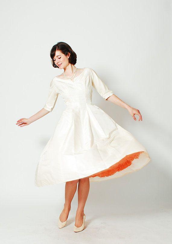 Vintage 1960s Wedding Dress , 50s Silk Wedding Dress , Love