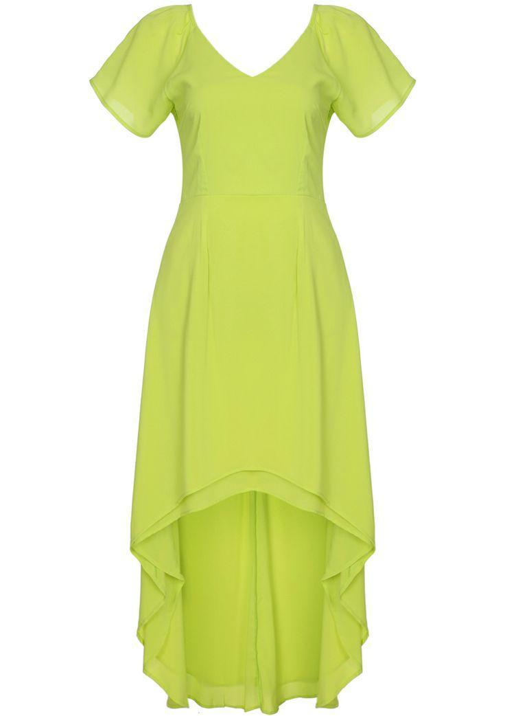 Mariage - Jaune col V manches courtes à volants robe haute basse - Sheinside.com