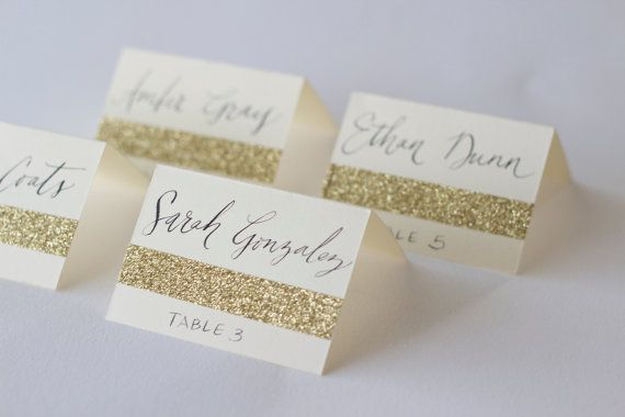 Glitter escort cards with custom calligraphy for wedding for Design table name cards